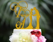 Wedding Cake Topper Monogram Mr and Mrs cake Topper Design Personalized with YOUR Last Name M011