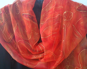 Orange Chiffon Scarf for Ladies. Wearable Art, Floral Design. Apricot, Orange, Red, Cinnamon.18x71 Chiffon Shawl Hand Painted OOAK