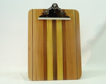 Yellow Striped Laminated Wood Clipboard SCB7288