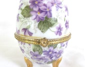 Vintage Enameled Porcelain Forget-me-not Trinket Box Egg Dresser Box Collectable