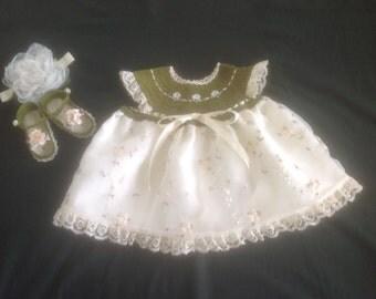 Crochet Handmade Baby Girl Dress Set - Olive Green & Cream