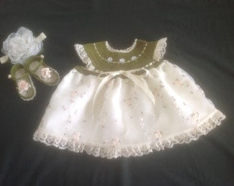 Baby Girl Dress Set - Olive Green & Cream
