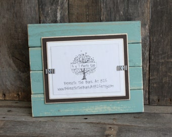 Picture Frame - Distressed Wood - Holds a 5x7 Photo - Double Mats - Beach Teal, Brown & White