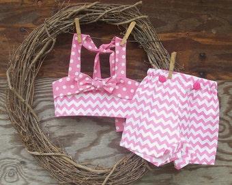 Girls Pink Short Set, Girls Romper, Girls summer outfit, Girls swimsuit, Girls shorts and top, Pink Chevron