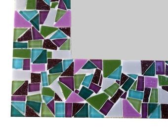 Purple Multicolored Mosaic Wall Mirror