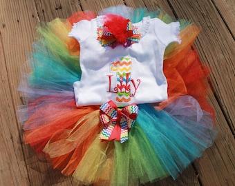 Rainbow Chevron Birthday set  Shirt, bow and tutu