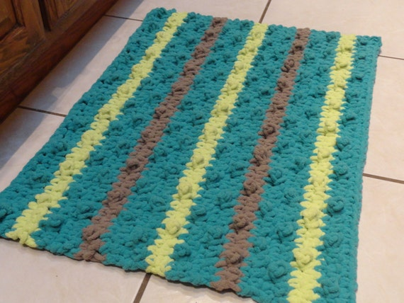 crochet bathroom rug bumpy bath mat kitchen rug teal citron