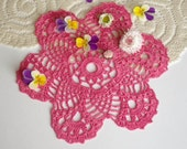Crochet doilies Pink crochet doily Small lace doily Round crocheted doily Home decor Gift for girl