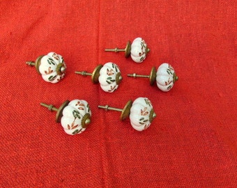 SALE Vintage Hand Painted Ceramic and Brass Knobs (6) Six