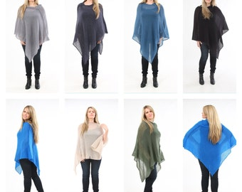 Poncho - comfortable uni size cloth,made of kid-mohair & silk, convertible into a scarf
