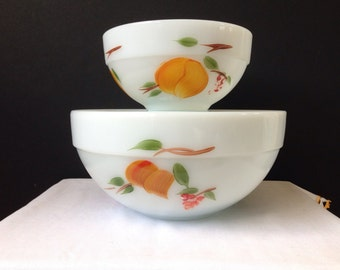 Anchor Hocking - Fire King - Colonial Kitchen Bowls - Gay Fad - Fruits Set of Two