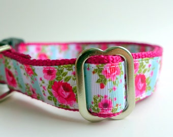 Shabby Roses Dog Collar Feminine Flowers Pink and Blue Floral Martingale or Buckle Limited Slip Harness Matching Leash