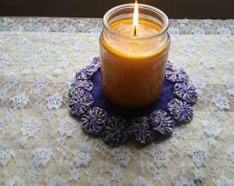 Purple Fabric Yoyo Candle Mat Doily