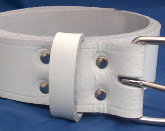 """White Leather Belt 1 1/2"""" Wide (38mm) with Choice of Buckle and Sizes Handmade Real Leather"""