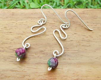 Ruby Fuschite Sterling Silver Earrings simple swirl pink and green gemstone jewelry