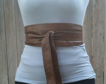 Brown leather obi belt - wide wrap belts - tie belts - wraparounds - brown