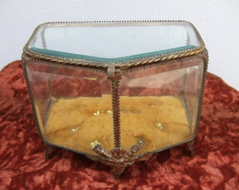 Antique French Jewel casket. Beveled Glass and Ormolu Fittings  Napoleon 111.. Large