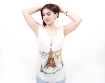 Paris silk blouse. Hand painted silk blouse with Paris and Eiffel Tower. Ready to ship.