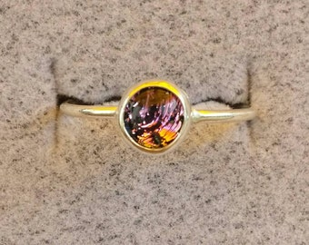 Stacking rings sterling silver jewelry silver ring dichroic glass bead prong setting precious metals