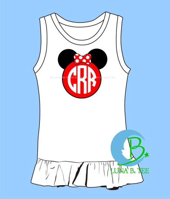 Mouse Ears Personalized Name Monogram  Disney World Land Cruise Vacation High Quality Mickey Minnie Dress