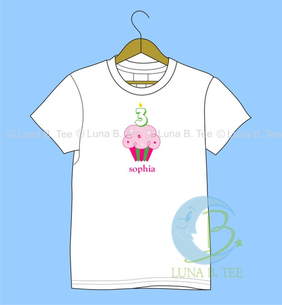 Personalized Birthday Cupcake T Shirt Girls Boys Tee Baby Onesie High Quality Shirt - SHORT SLEEVE