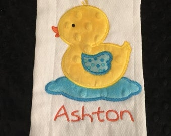 Ducky in Water Burp Cloth