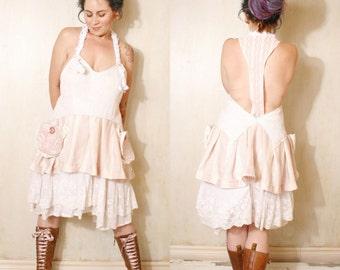 Short wedding dress White dress Woman dress Summer dress Lace dress Pocket dress Bohemian dress Backless dress Prom dress Whimsical dress
