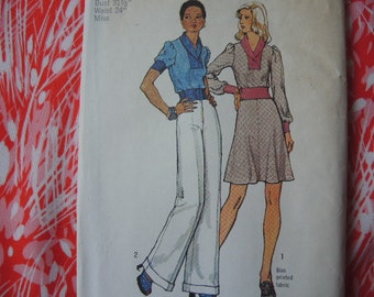 vintage 1970s simplicity sewing pattern 6166 misses pullover top short skirt wide leg pants uncut size 8