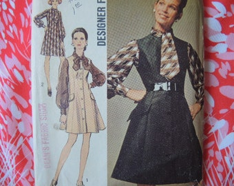 vintage 1960s Simplicity sewing pattern 8447 designer fashion dress or jumper size 12 miss petite