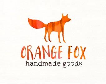 watercolor logo fox animals premade logo - Logo Design #317