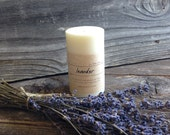 Lavender Soy Candle White Soy Pillar Candle Clean Burn Small Soy Pillar Candle
