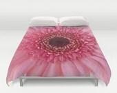 Pink Gerbera Daisy Duvet Cover, Fine Art Photography, Bed Decor, Flower, Garden, Bedding, Nature