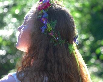 Flower crown, wild flowers, meadow flowers, fern, pink, purple grapevine