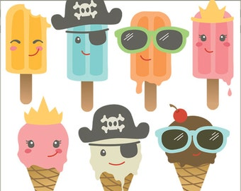 Ice Cream Clipart Set Summer Treats  -Personal and Limited Commercial Use- popsicles, pirates, sunglasses clip art