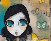 HAND painted unique inspirational wooden magnet whimsy big eye girl +butterflies a beautiful thoughtful gift LilliBean Designs FREE SHIPPING