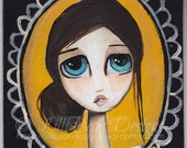 HAND painted unique inspirational wooden magnet whimsy big eye girl Dream to try a beautiful thoughtful gift LilliBean Designs FREE SHIPPING
