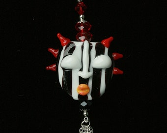 Funky Black Red Necklace One of a Kind Face Necklace Red Black Lampwork Face Pendant Handcrafted OOAK