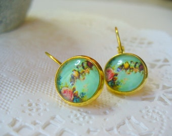 Birds and Flowers French Earrings, Dangle Earrings, Birthday Gift, Gold tone French Earrings, Jewelry, Gold Earrings, Valentine's Day Gift