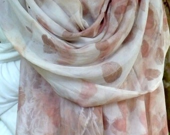 Silk scarf supplies in grey with red floral detail.Eco printed silk chiffon.Summer collection.Sewing supplies. Australian plants.