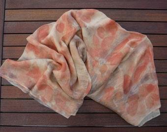 Eco Printed Silk Chiffon. 142x114cm Silk Scarf Plant Dyed in Red, Green, Grey, Orange.