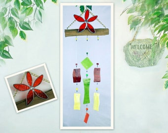 Wind Chime, Stained Glass Chime, Glass Windchime, Stained Glass Flower Chime, Garden Decor, Home Decor