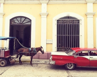 Cuba Photo Classic Car Horse Red Yellow Wall Art Trinidad Travel Photography Cuban Street Scene by SybilMaxine