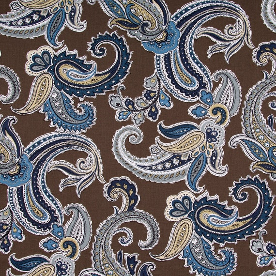 Navy Blue Paisley Cotton Upholstery Fabric Blue Brown