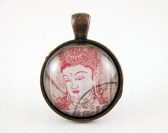 Wise Buddha Pendant, Vintage Japanese Postage Stamp, Monochrome Red, Zen Buddhist Jewelry, Inspirational Quotes, Yoga, OOAK Gift for Yogi