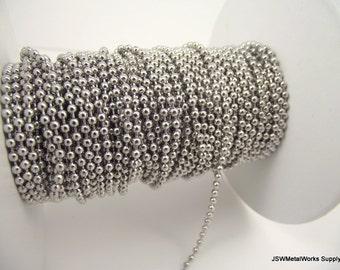 BULK - Ball Chain, 304 Stainless Steel, 2.4 mm Ball Chain - Full Spool, 50 ft