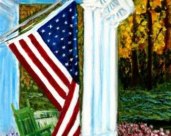 "4th of July Painting U.S. Flag Patriotic Art 11 x 14"""