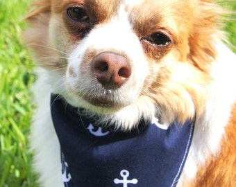 Navy Anchor Dog Bandanna