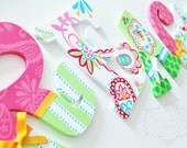 Pink, lime green, and aqua Tera Paisley Hand Painted Personalized Nursery Letters