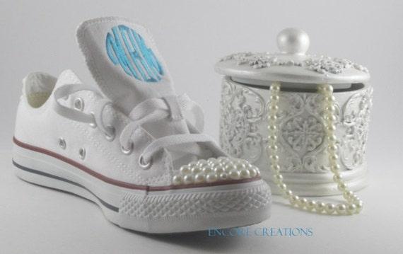 Bridal Converse -Wedding Converse- White Monogrammed Pearl Converse--Bridal Chucks-Monogrammed Chucks- Custom Chuck Taylors