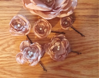 Romantic upcycled rose hair pieces tan biege boho